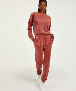 Tall Velour Jogging Pants Pin-tucked, Pink