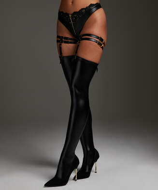 Private leather-look Hold up suspenders, Black