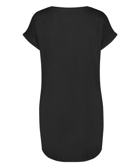 Round Neck Nightshirt, Black