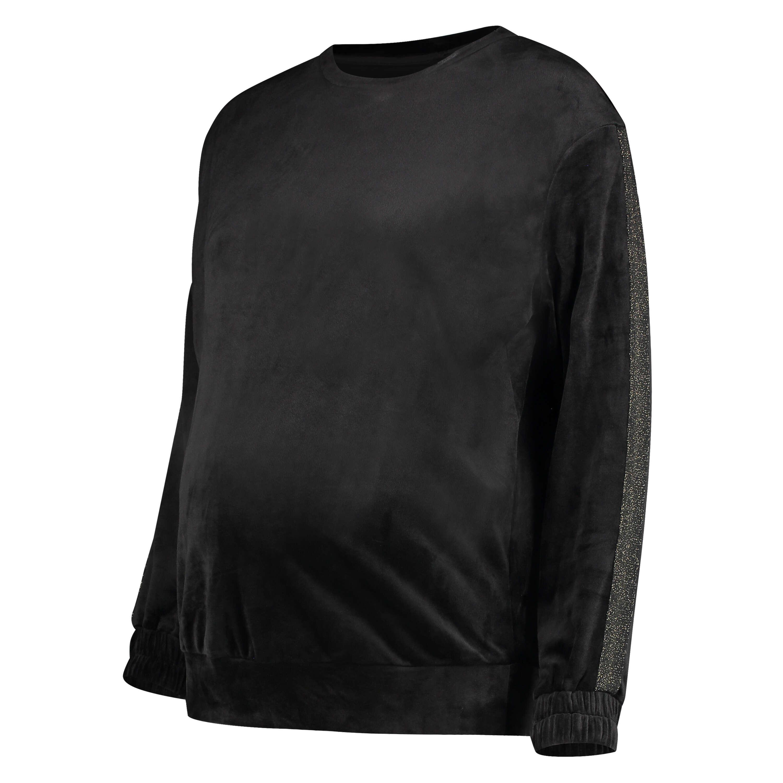 Velvet Shimmer maternity top, Black, main