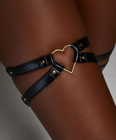 Heart Private Hold Up Suspenders, Black