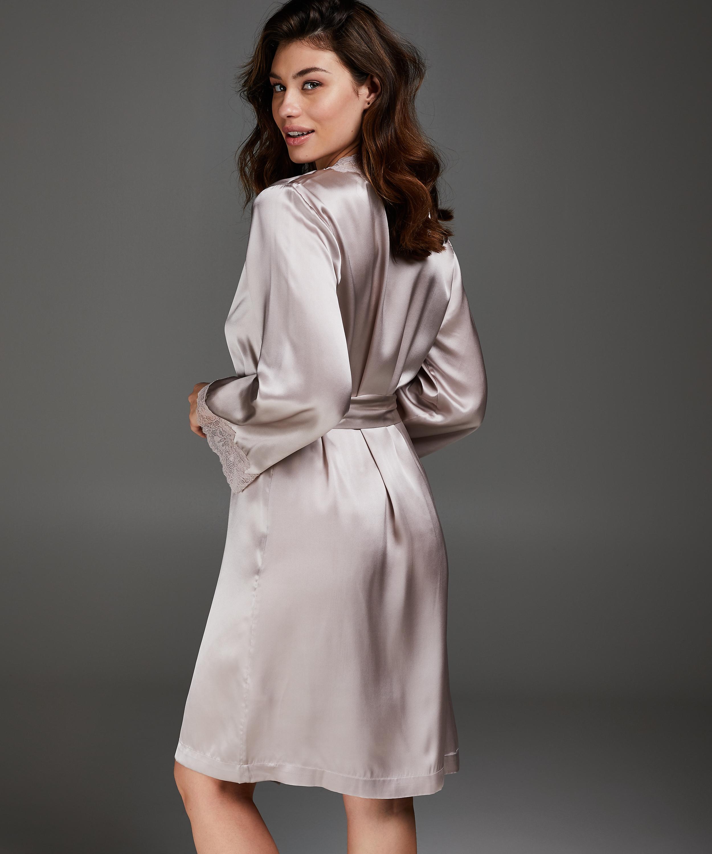 Silk lace trim kimono, Pink, main