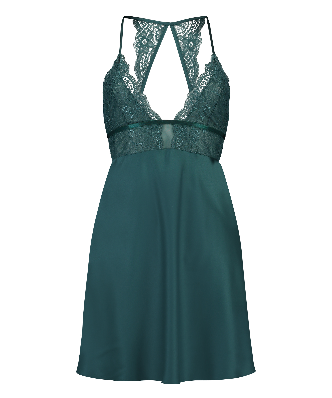 Satin lace slip dress, Blue, main