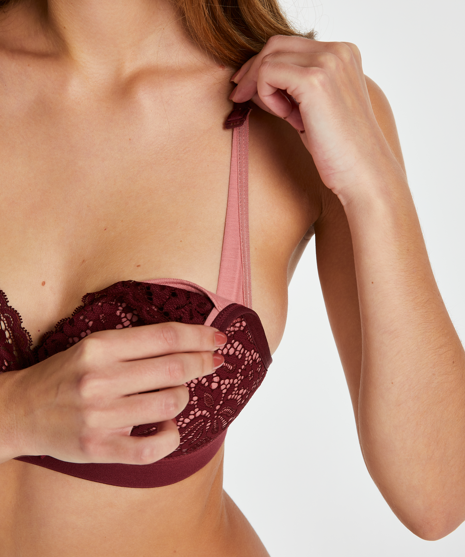 Rose padded nursing bra, Red, main