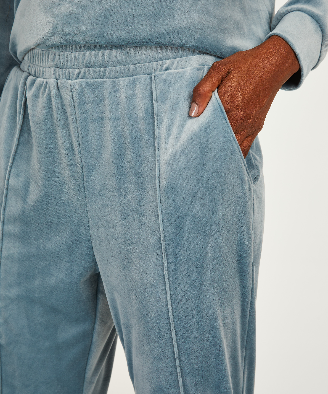 Tall Velour Jogging Pants Pin-tucked, Blue, main