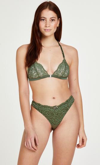 Rose Padded Triangle Bralette, Green