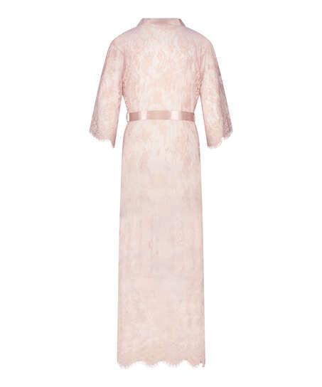 Long Allover Lace Kimono , Beige
