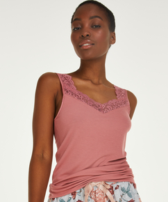 Ribbed Lace Singlet, Pink