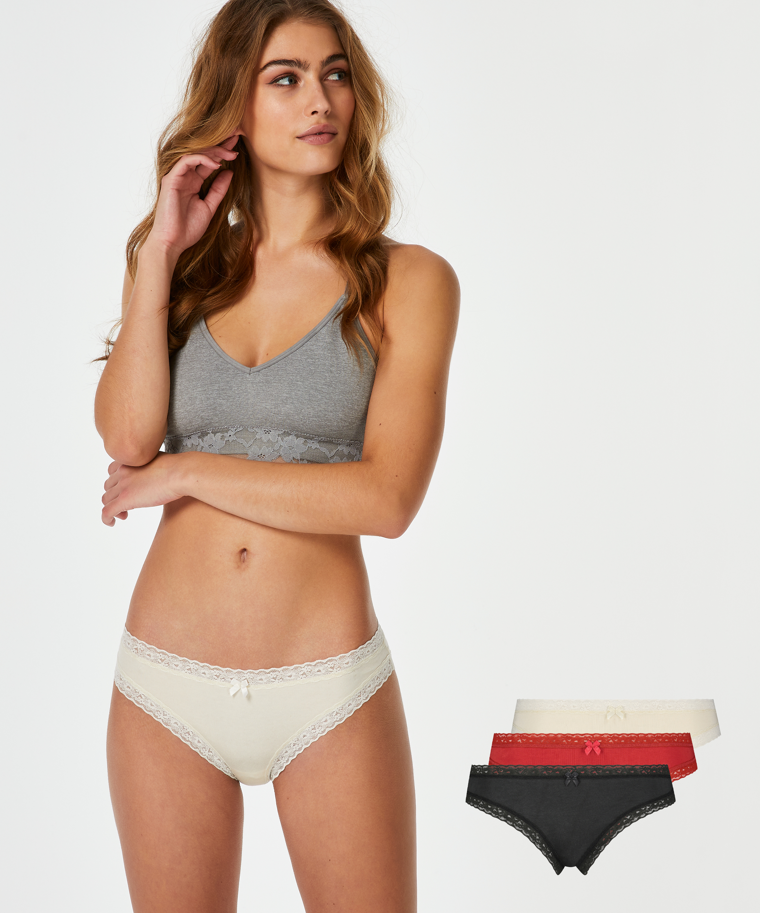 3-Pairs of knickers, Red, main
