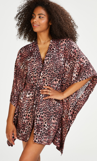 Leopard Rose Tunic, Brown
