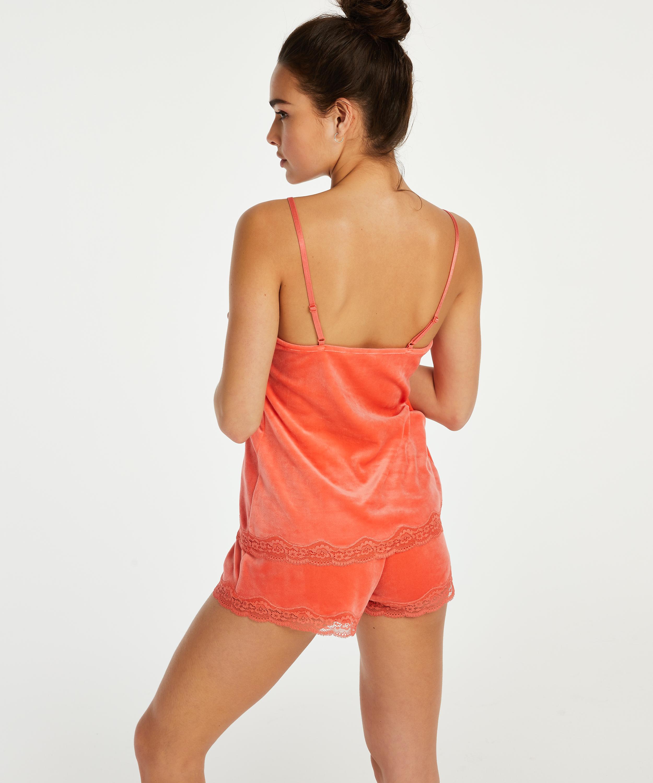 Velvet lace shorts, Orange, main