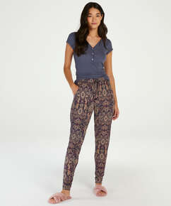 Short sleeve rib placket pyjama top., Grey