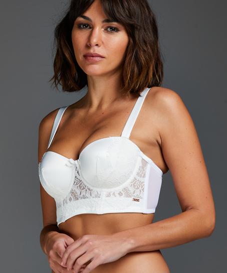 Hannako padded strapless longline underwired bra, White