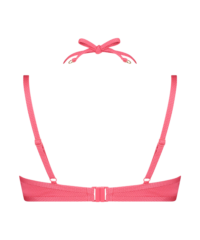 Ruffle Dreams padded underwired bikini top, Pink, main