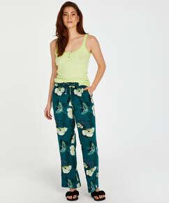 Tall Lotus Bird woven pyjama bottoms, Grey