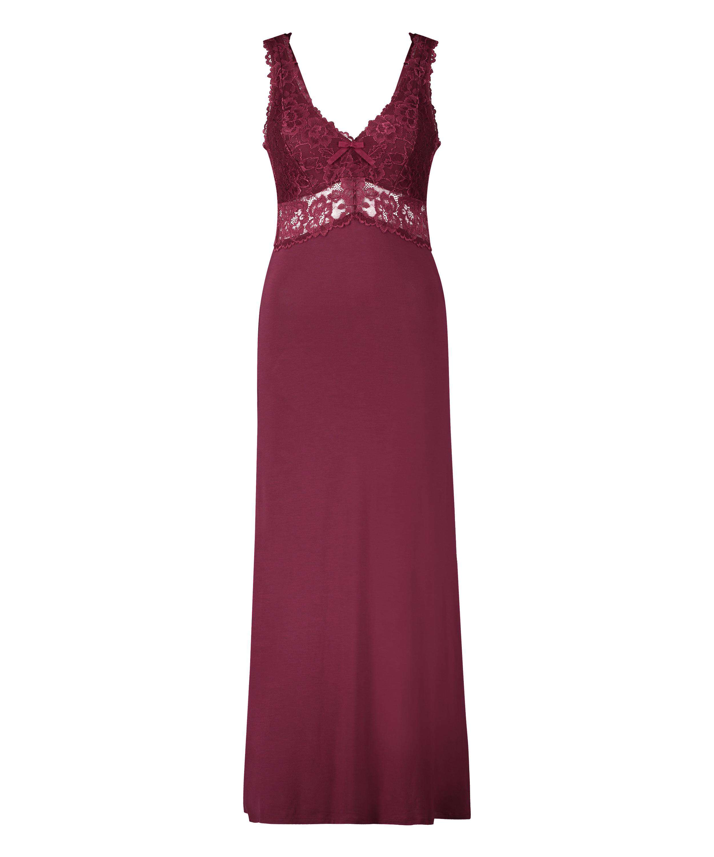 Nora Lace Long Slip Dress, Red, main