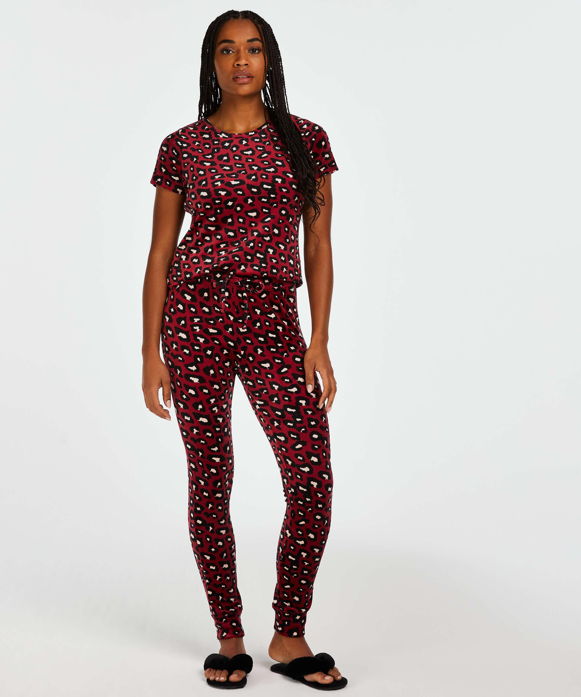 Velvet leggings, Red, main