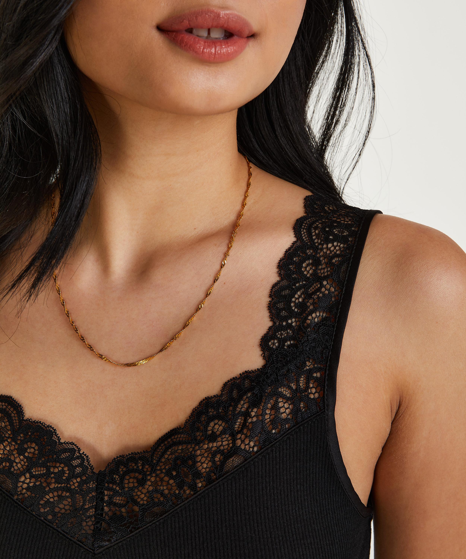Ribbed Lace Singlet, Black, main