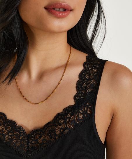 Ribbed Lace Singlet, Black