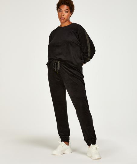 Velvet Lurex jogging bottoms, Black