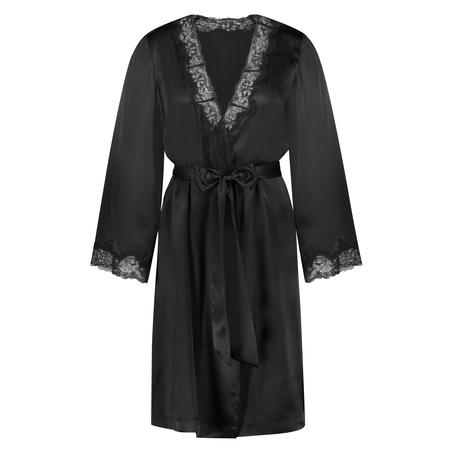 Silk lace trim kimono, Black