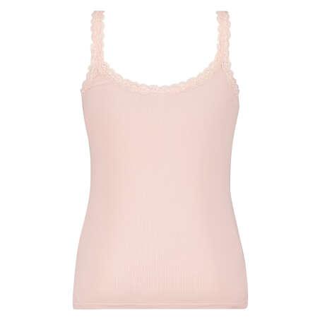 Singlet top cami rib lace, Pink