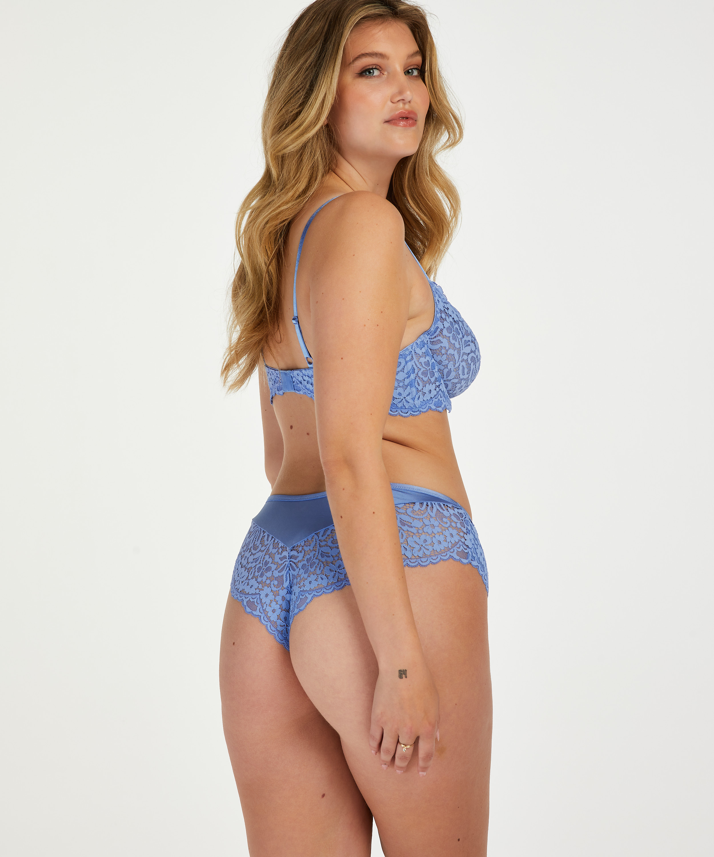 Rose Non-Padded Underwired Bra, Blue, main