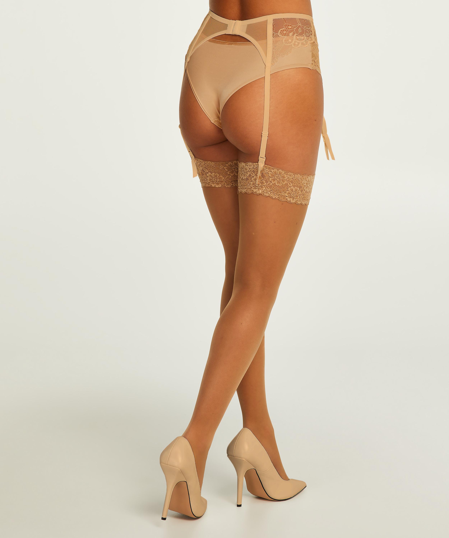 2 pack Stockings 15 Denier Lace, Beige, main
