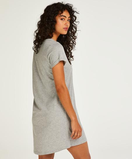 Round Neck Nightshirt, Grey