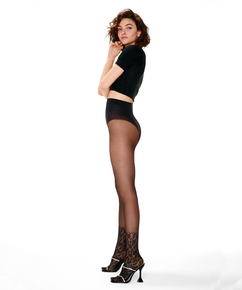 Lace sock tights, Black