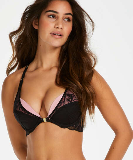 Marit Padded Push-Up Underwired Bra, Black