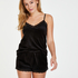 Velvet lace shorts, Black