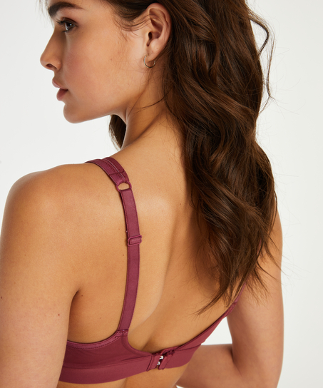 Mesh Padded non-underwired bra, Red