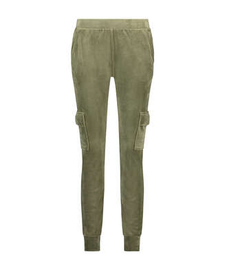 Velvet Jogging Pants Cargo, Green