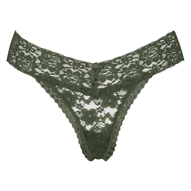 Floral Lace Thong, Green, main