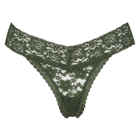 Floral Lace Thong, Green