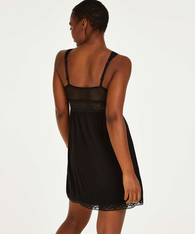 Grafic jersey lace slip dress, Black, main
