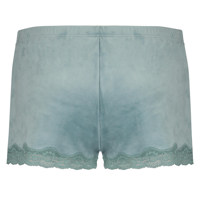 Velvet lace shorts, Green, main
