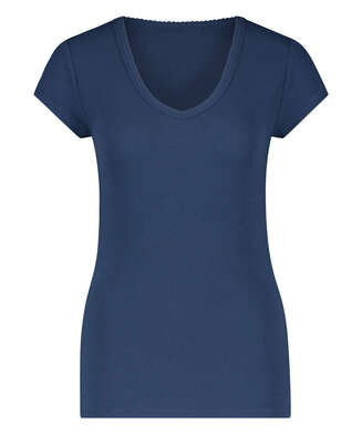 Short sleeve rib pyjama top., Blue