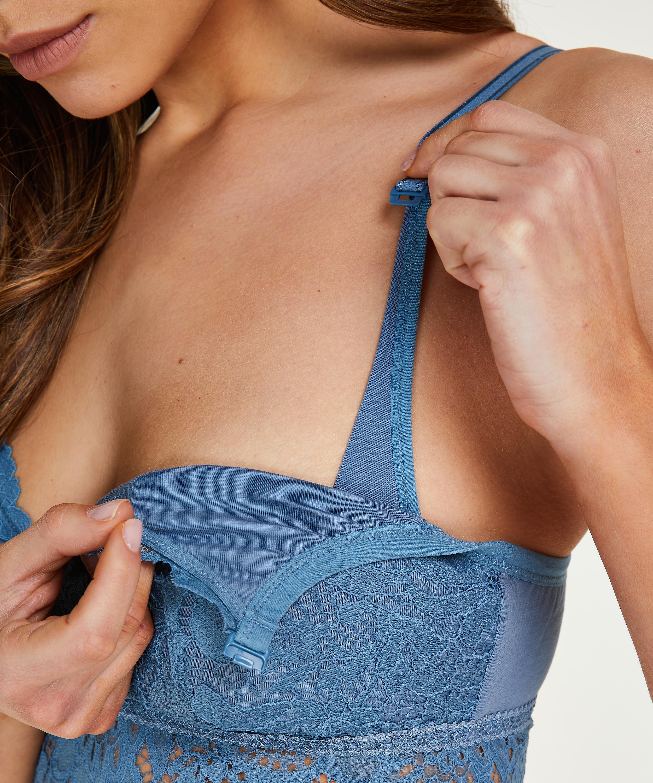 Shiloh non-padded non-wired nursing bra, Blue, main