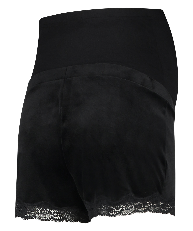 Velours maternity shorts, Black, main