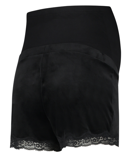 Velours maternity shorts, Black