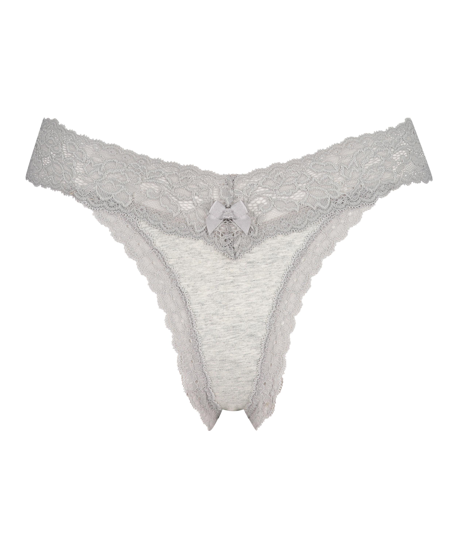Cotton extra low thong, Grey, main