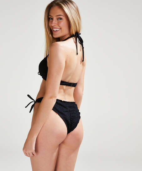 Crochet Brazilian Tanga Bikini Bottoms , Black