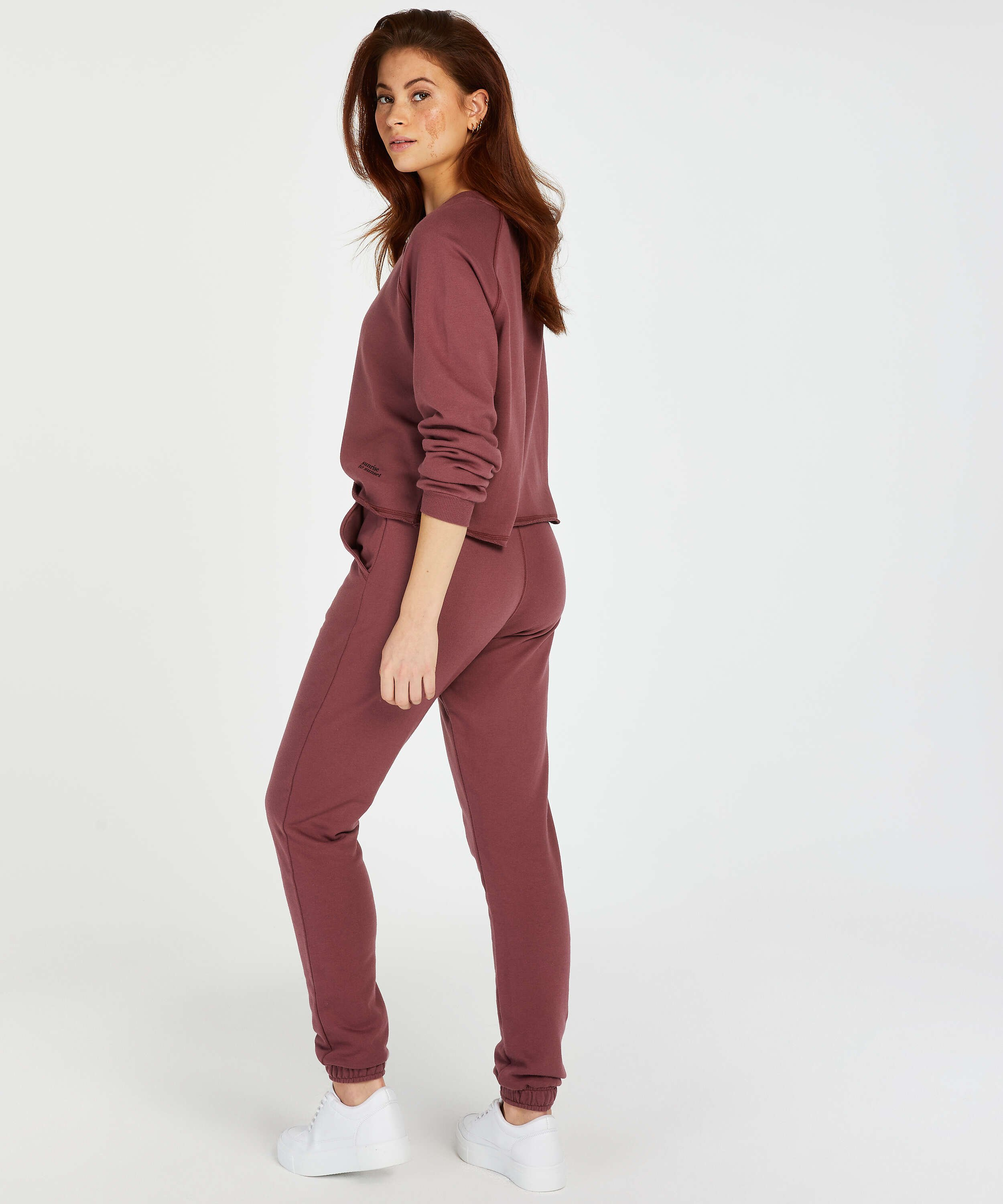 Sweat French Long-Sleeved Top, Pink, main