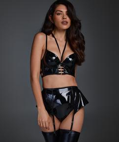 Wet Look Suspenders, Black