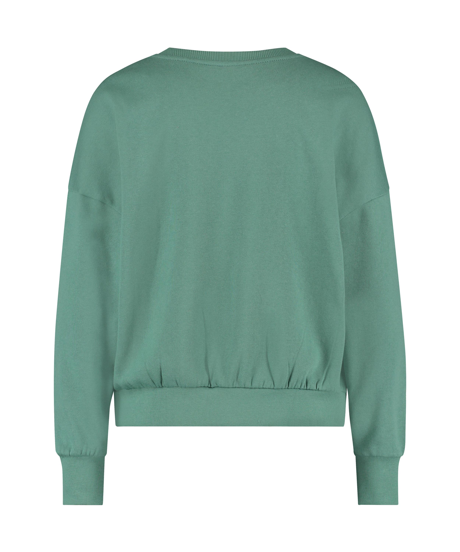 Brushed Long Sleeved Boyfriend Top, Green, main