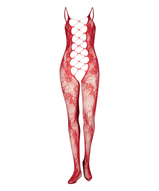 Private Open Lace Catsuit, Red
