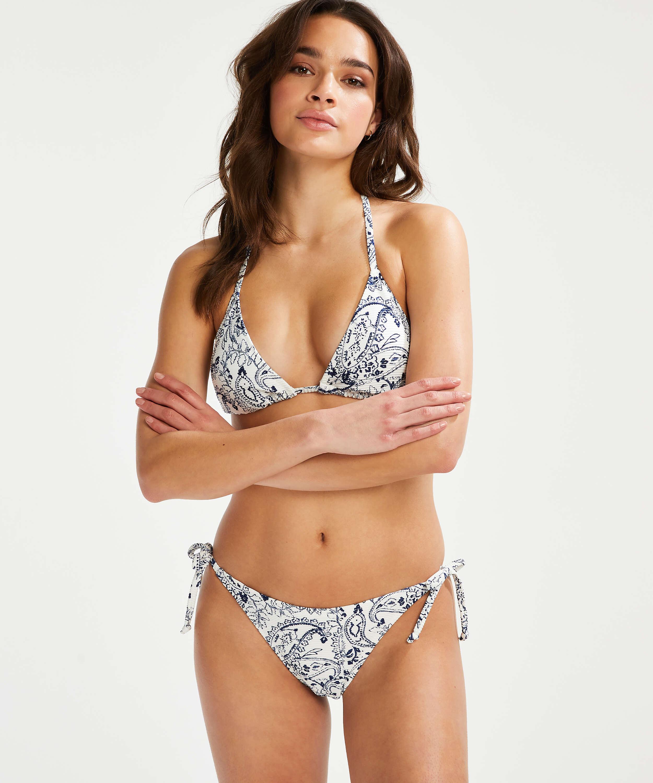 Paisley Brazilian tanga bikini bottoms, White, main