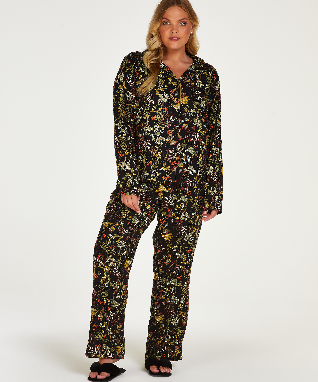 Woven pyjama bottoms, Black, main